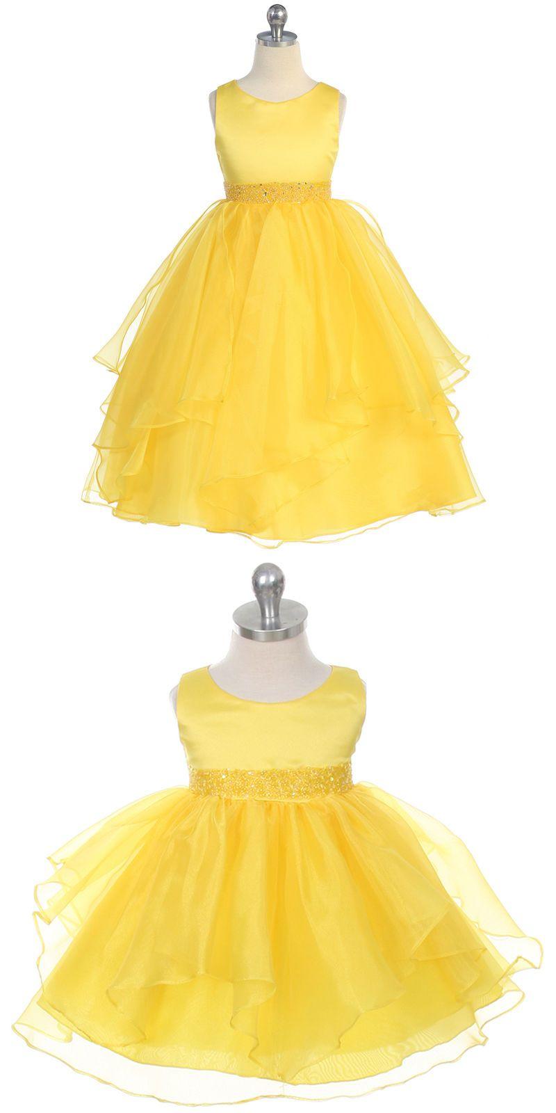Yellow dress to wedding  Girls Formal Occasion  Yellow Flower Girl Dresses Wedding