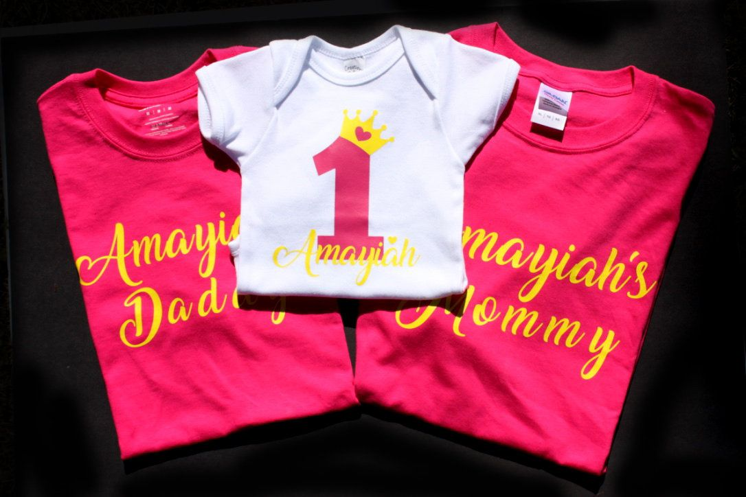 Baby Girls 1st Birthday Matching Family Shirts/ Matching