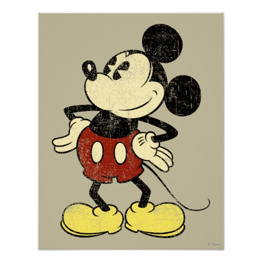 Classic Mickey Vintage Hands On Hips Poster Zazzle Com Vintage Mickey Mouse Mickey Mouse Art Vintage Mickey