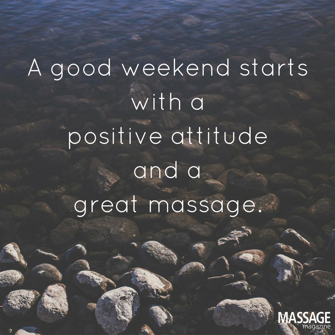 The right start to any weekend. massagebenefits Massage