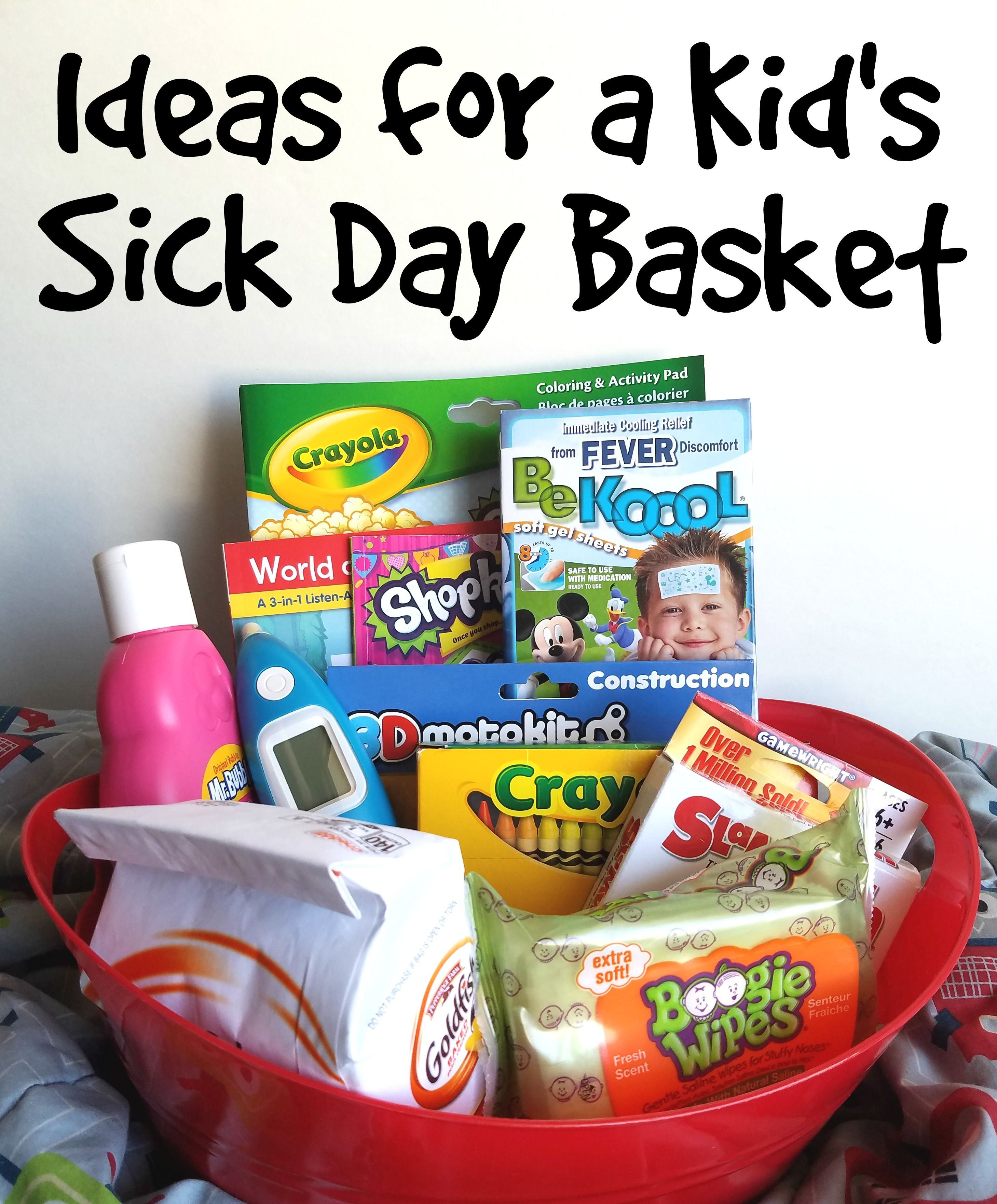 Sick Day Basket For Kids Get Well Gift Baskets Kids Gift Baskets Kids Care Package