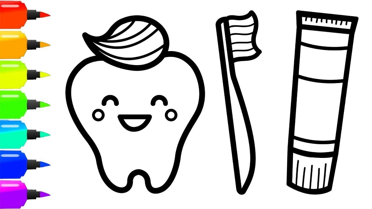 Teeth And Toothbrush Coloring Page For Kids Construction Tools