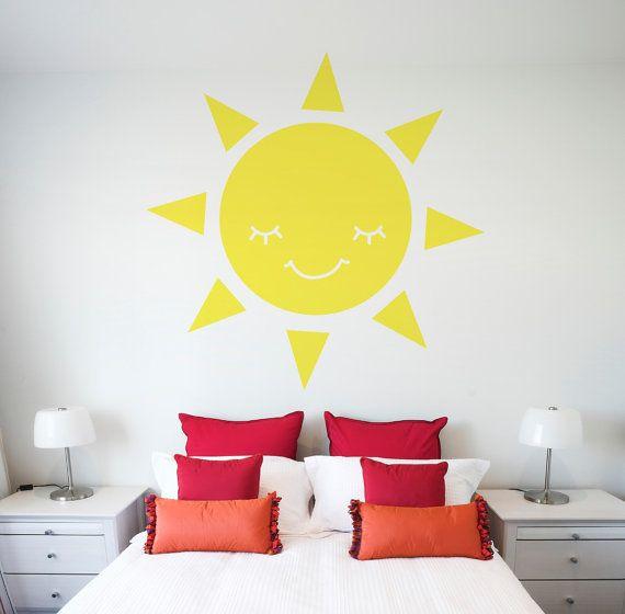 Smiling Sun Vinyl Decal Size LARGE - Sun, Sun Vinyl Wall Art, Sun ...