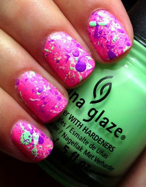 Nails by an OPI Addict: Shocking Pink Splatter! | [ Diana\'s Nail Art ...