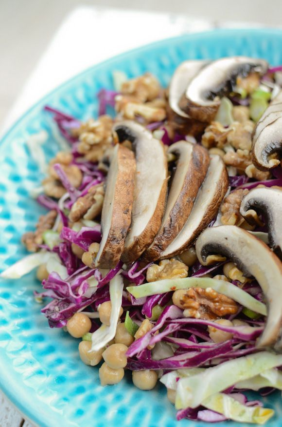 cabbage and chickpea salad with grilled portobello mushrooms