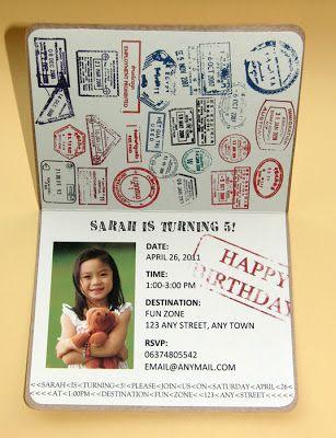 passport invitations birthday party
