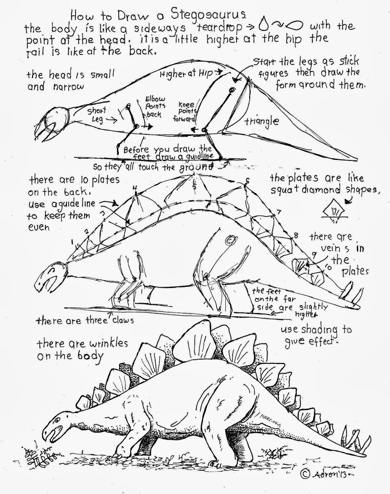 How To Draw Worksheets For The Young Artist Dinosaurs