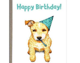 Red Heeler Australian Cattle Dog Happy Birthday Card Handmade Greeting Cards 4x5 Pup