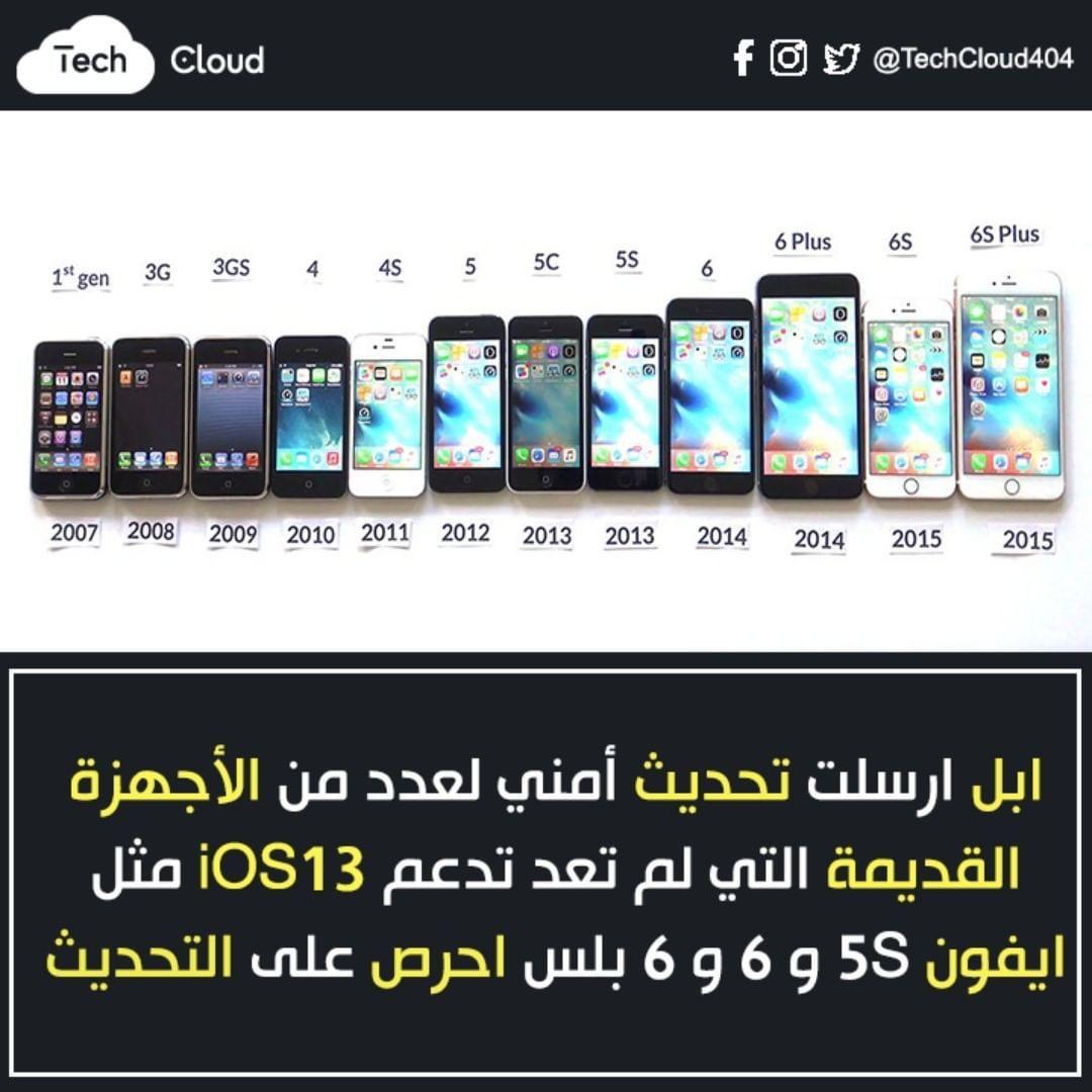 Tech Cloud تيك كلاود On Instagram ابل ارسلت تحديث أمني لعدد من الأجهزة القديمة التي لم تعد تدعم Ios13 مثل ايفون 5s و 6 و 6 بلس احرص على التحديث ابل Clouds