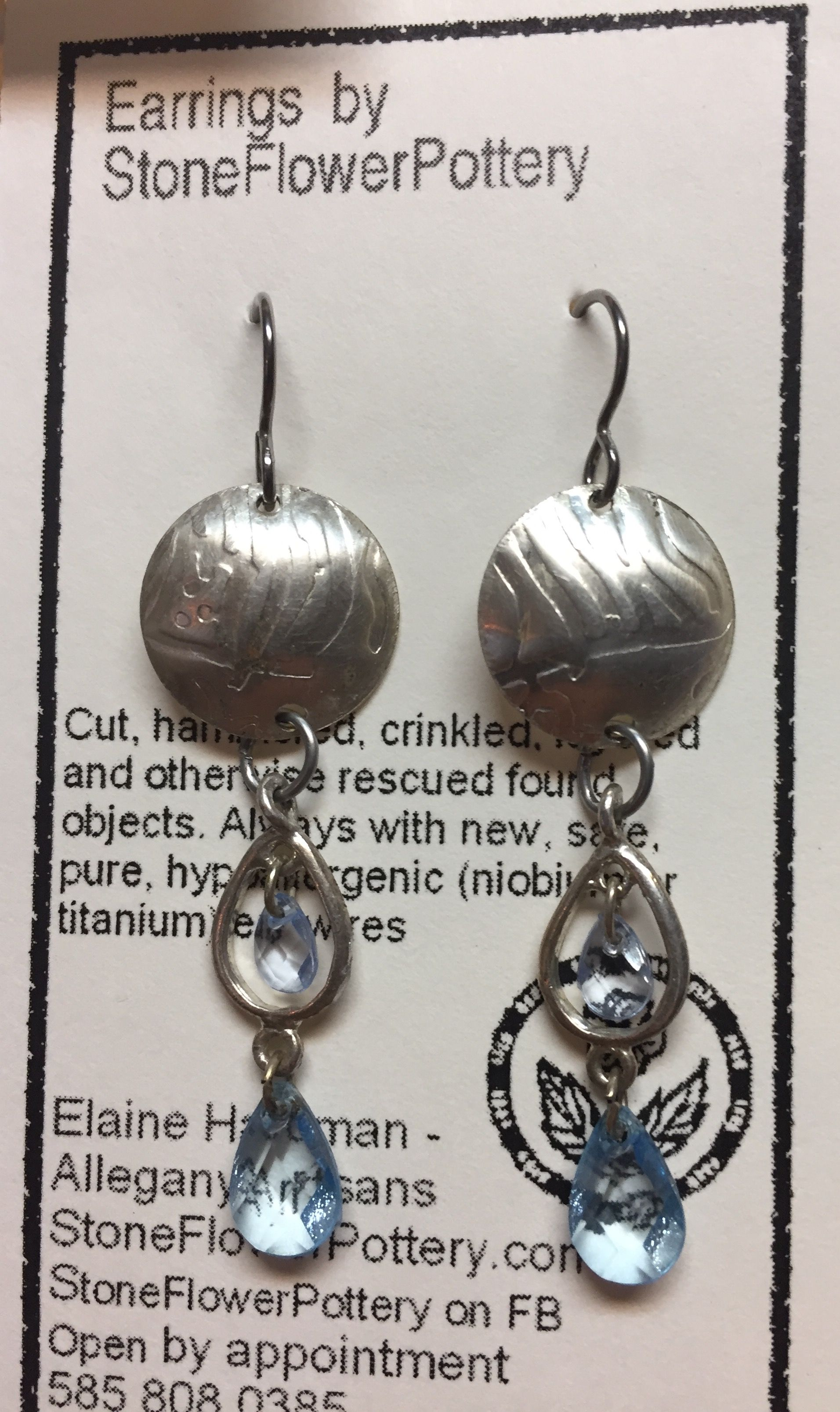 Upcycled earrings by Elaine Hardman in Wellsville.