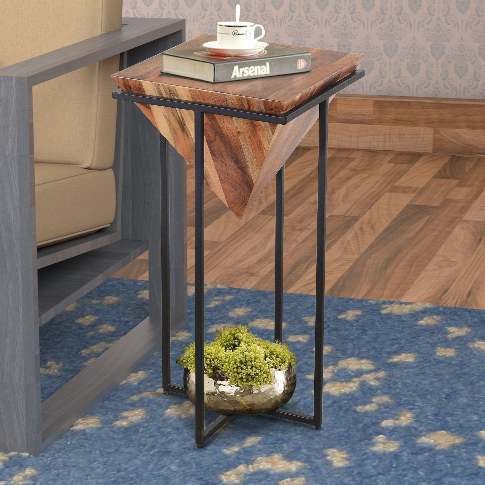 30 Inch Pyramid Shape Wooden Side Table With Cross Metal Base Brown A In 2021 Wooden Side Table Wood End Tables Side Table 30 inch end table