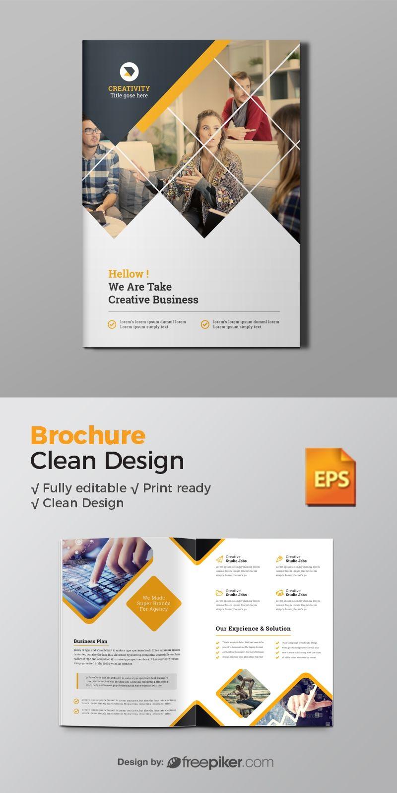 Freepiker | business bi-fold brochure with green concepts