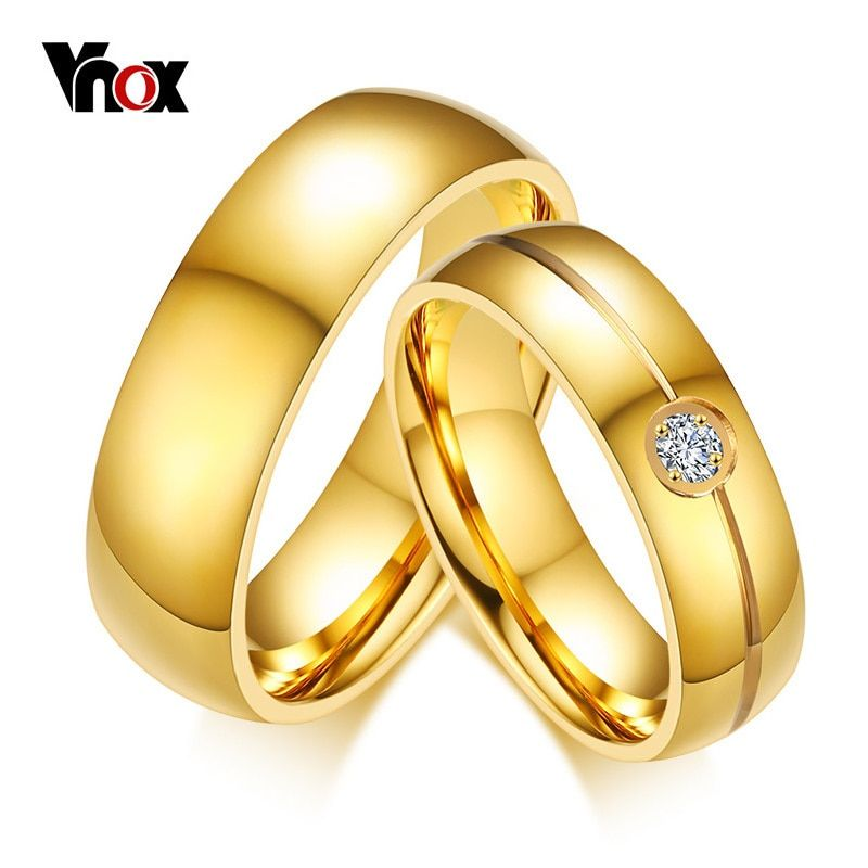 Gold Color Engagement Promise Finger Ring 6mm Stainless Steel