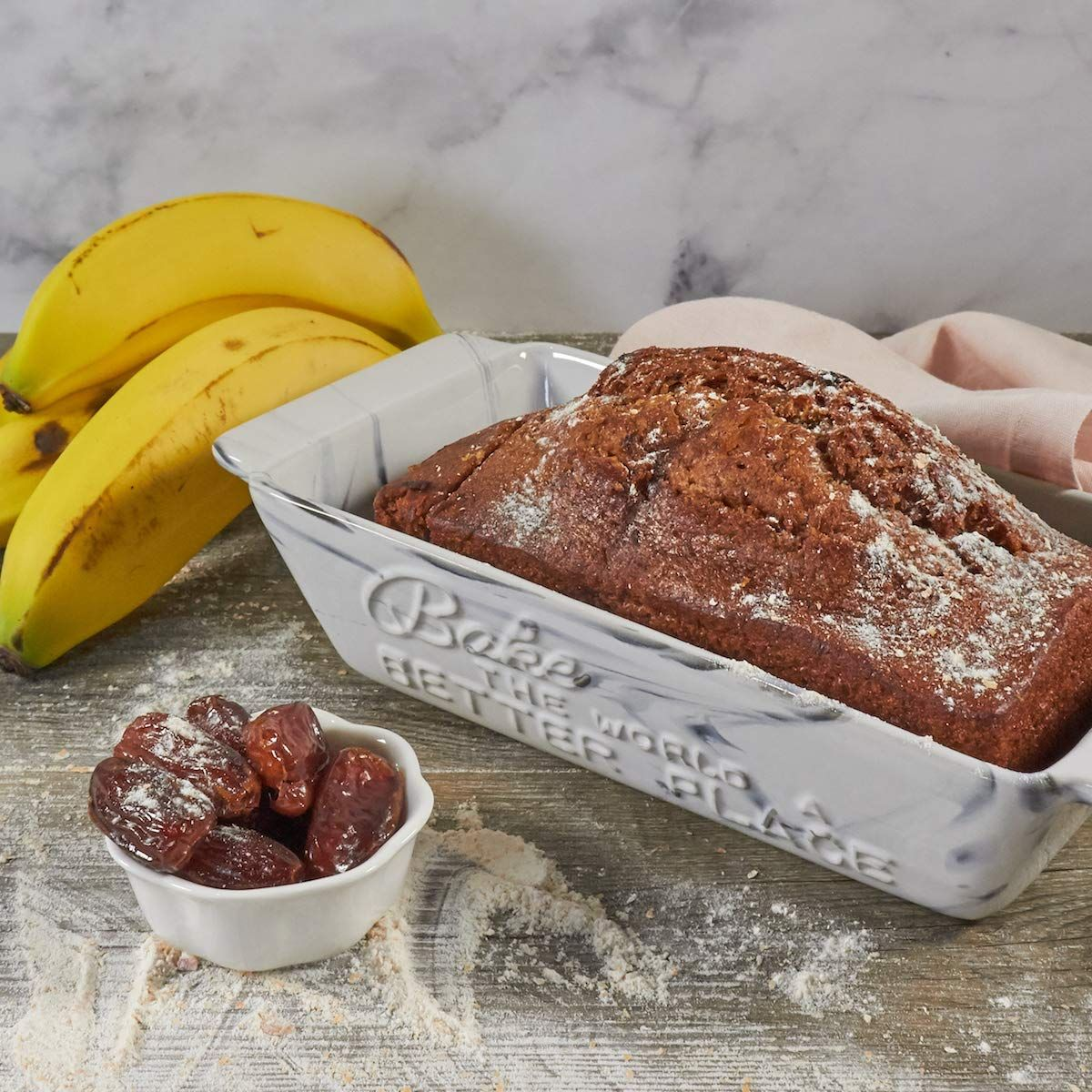Amazon Com Ceramic Loaf Pan By Ciroa 9 X 5 Inch Marble Look