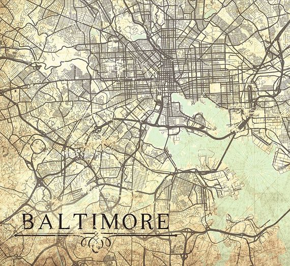 BALTIMORE MD Canvas Print Maryland Vintage map Baltimore Md Vintage ...