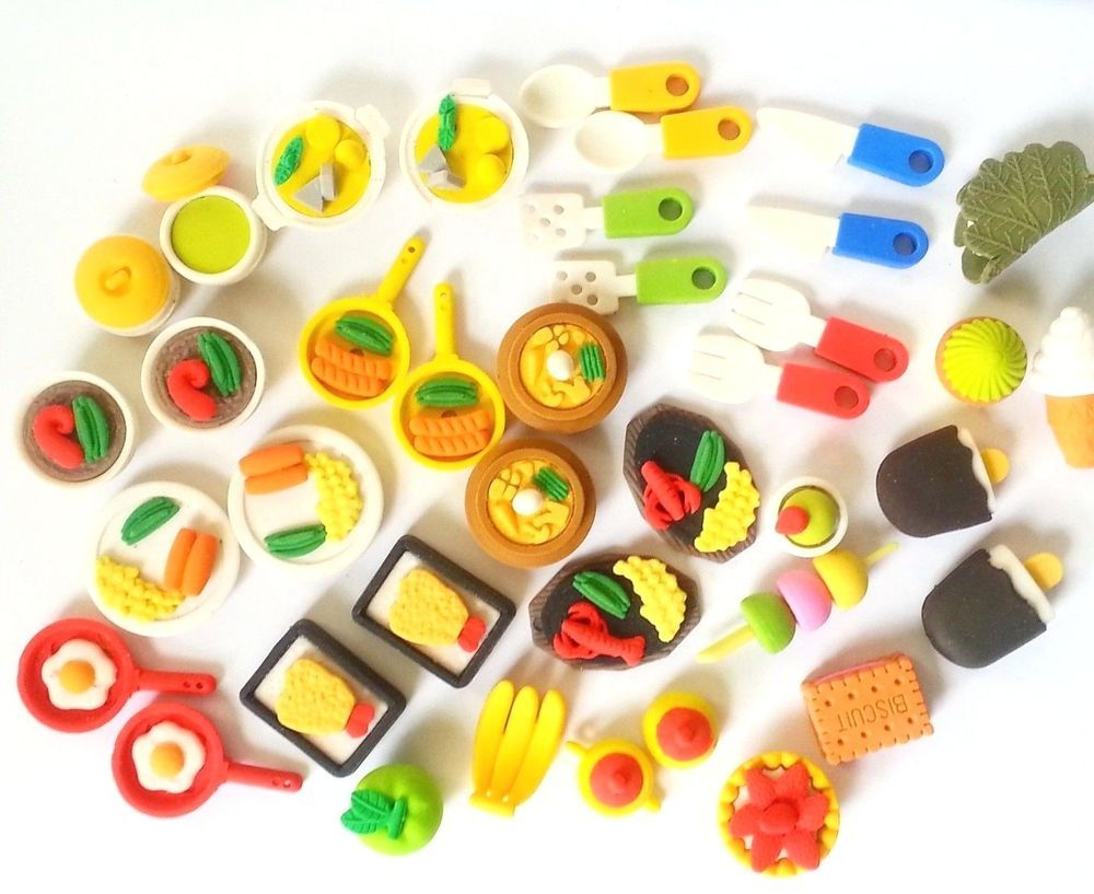 Collectible Japanese Eraser FOOD DISHES Miniature Fruit Veggie Sweets IWACO