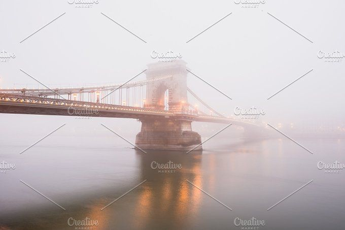 Chain Bridge in Budapest, Hungary by Foxys on @creativemarket