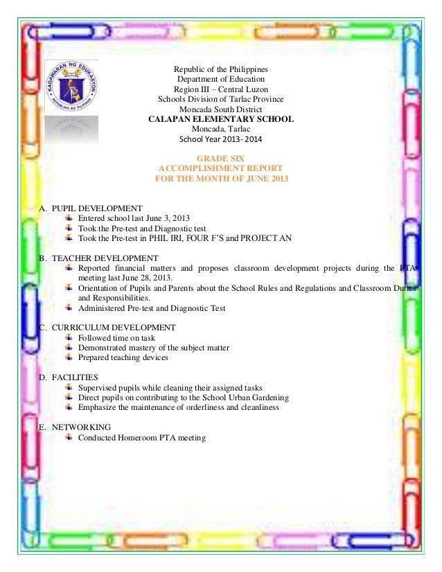 Republic of the Philippines Department of Education Region III - accomplishment report
