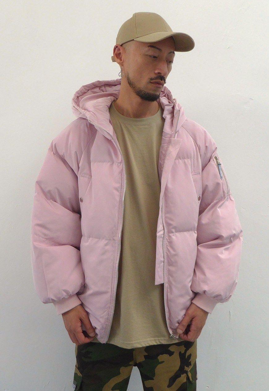 New Oversized Paninaro Puffer Jacket In Pink Wwyf Asos Marketplace Jackets Jackets Men Fashion Mens Jackets [ 1262 x 870 Pixel ]