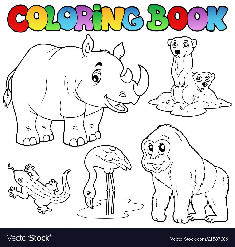 Coloring book zoo animals set 1 vector illustration