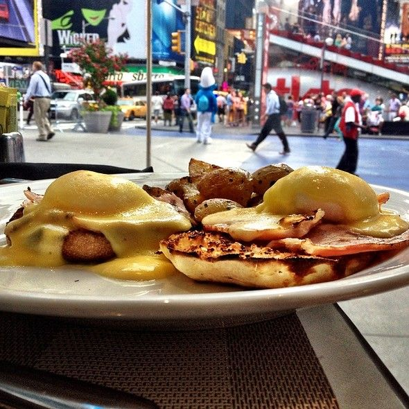 Eggs Benedict With Times Square View At Blue Fin Nyc