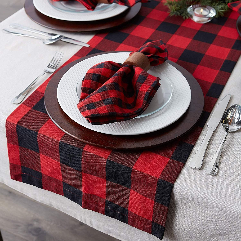 Buffalo plaid farmhouse table runner for thanksgiving