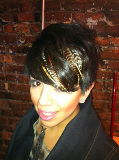 Feather extensions in short hair | Hair |