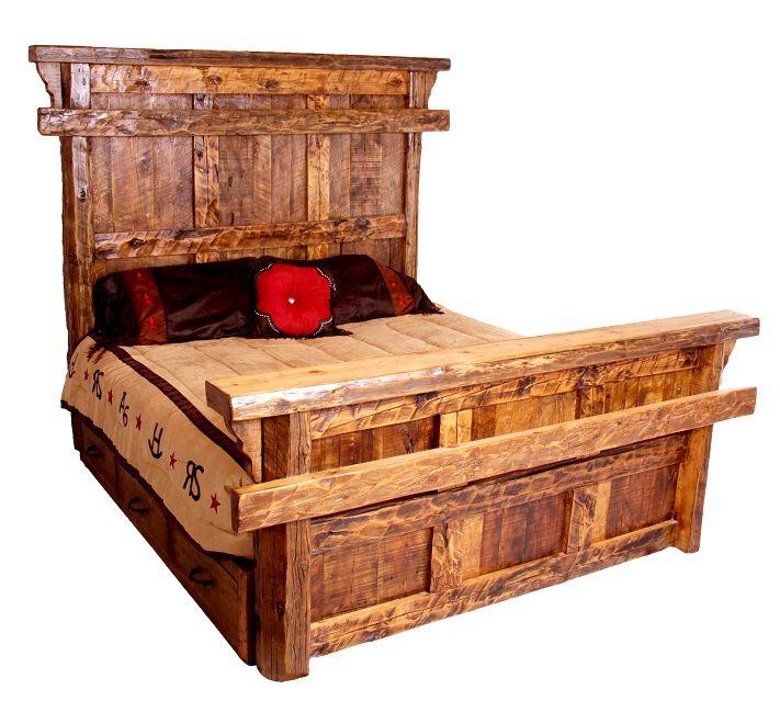 Montana Ranch Old Fashioned Bed Wood Bed Frame Queen Rustic