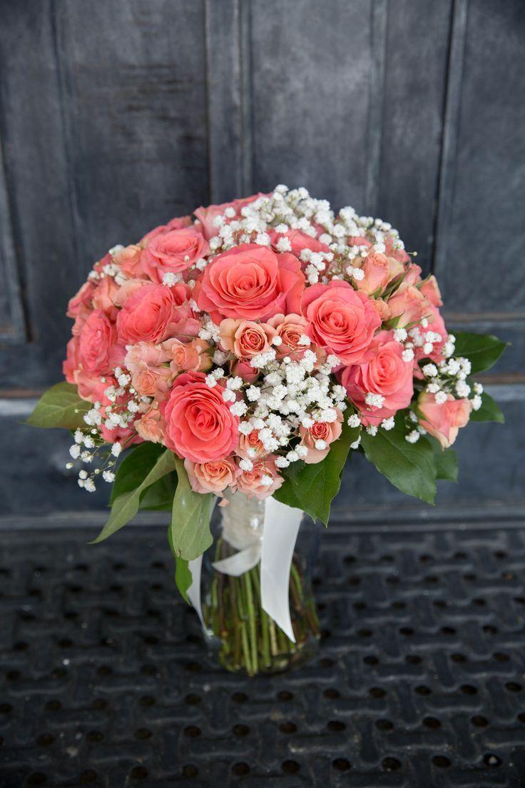 Kroger custom coral wedding bridal bouquet, babys breath and roses ...