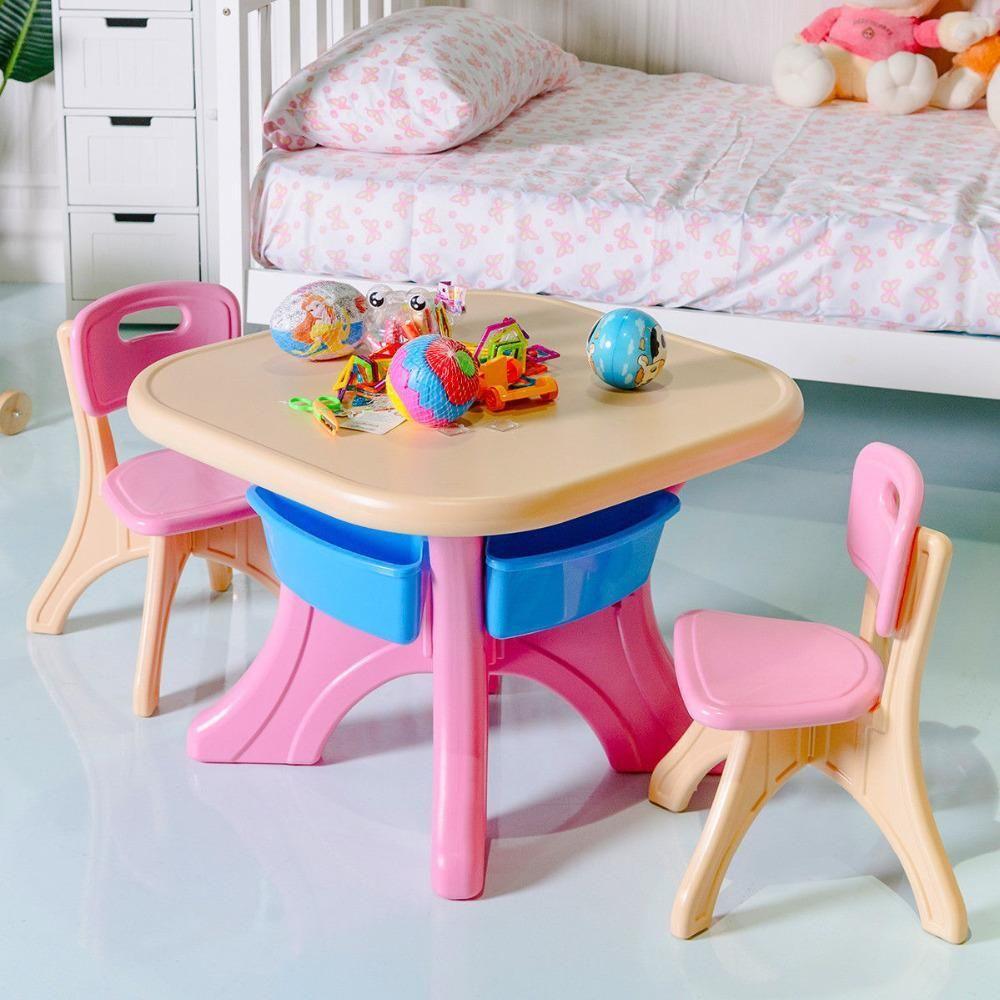 Plastic Children Kids Table & Chair Set 3Piece Play