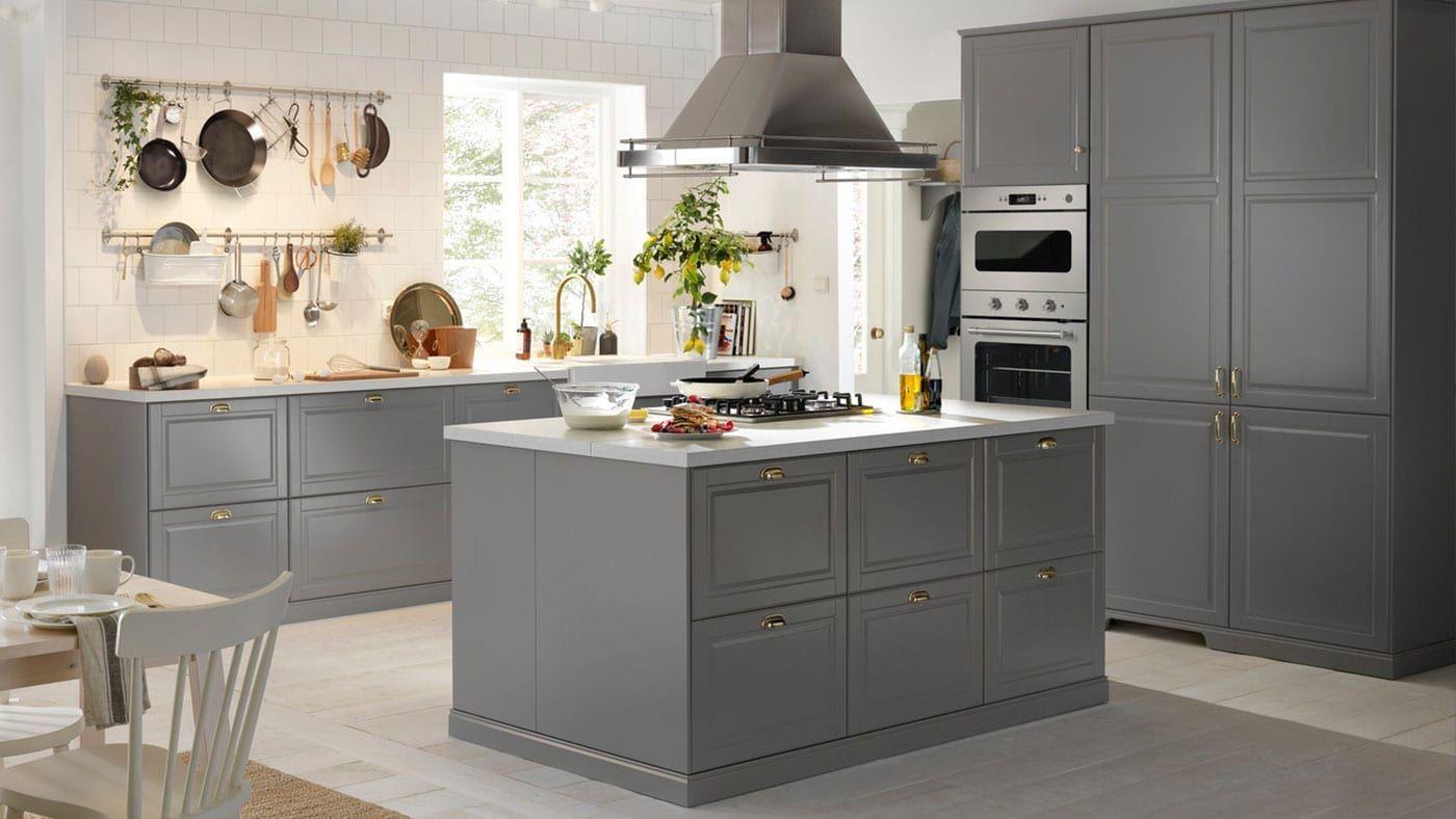 Axstad Grey Kitchen Axstad Grey Kitchen In 2020 Ikea Bodbyn Kitchen Kitchen Cabinets And Cupboards Ikea Kitchen