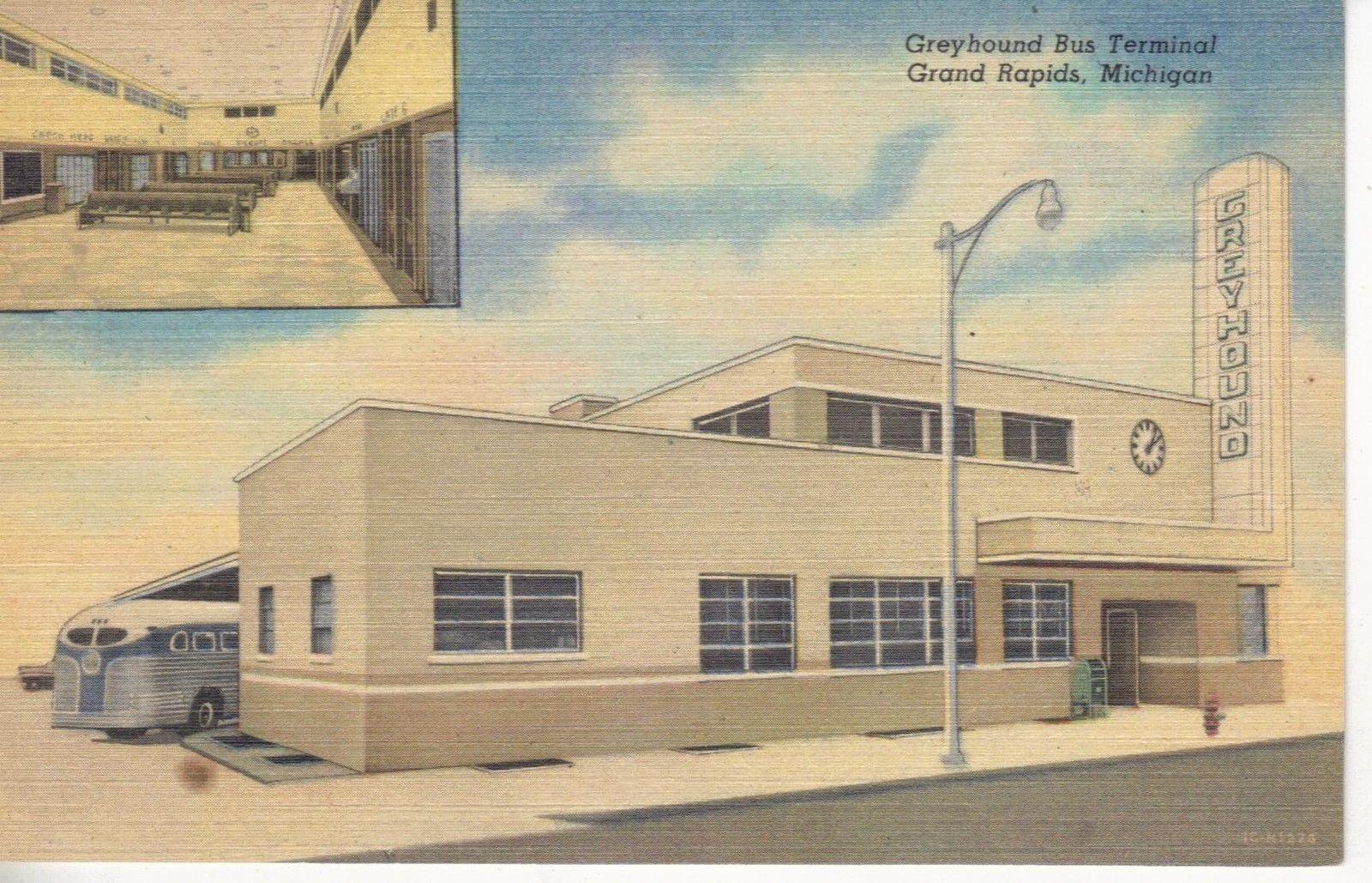 Greyhound Bus Terminal Postcard Late 1950s Greyhound Bus Grand Rapids Bus Terminal