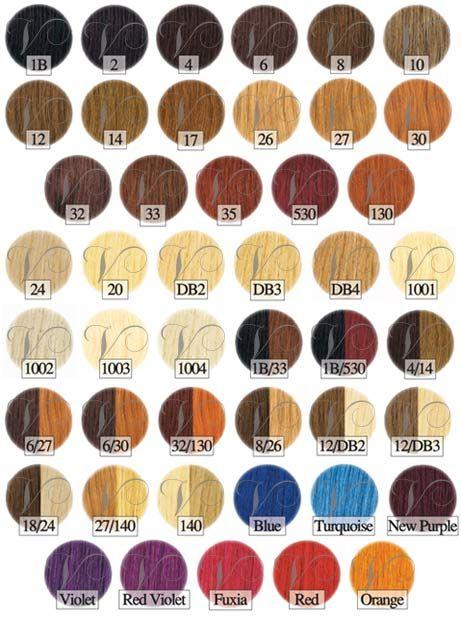 Euro Socap Hair Extension Color Chart