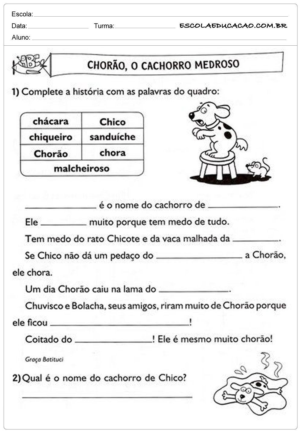 Atividades com CH   2º ano   Atividades com ch, Atividade ...