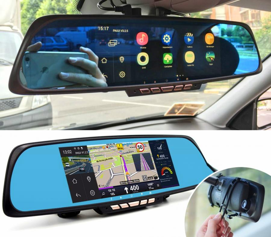 Smart Rear View Mirror With Integrated Dash Cam Touchscreen And Gps Navigation Rear View Mirror Camera Dashcam Rear View Mirror