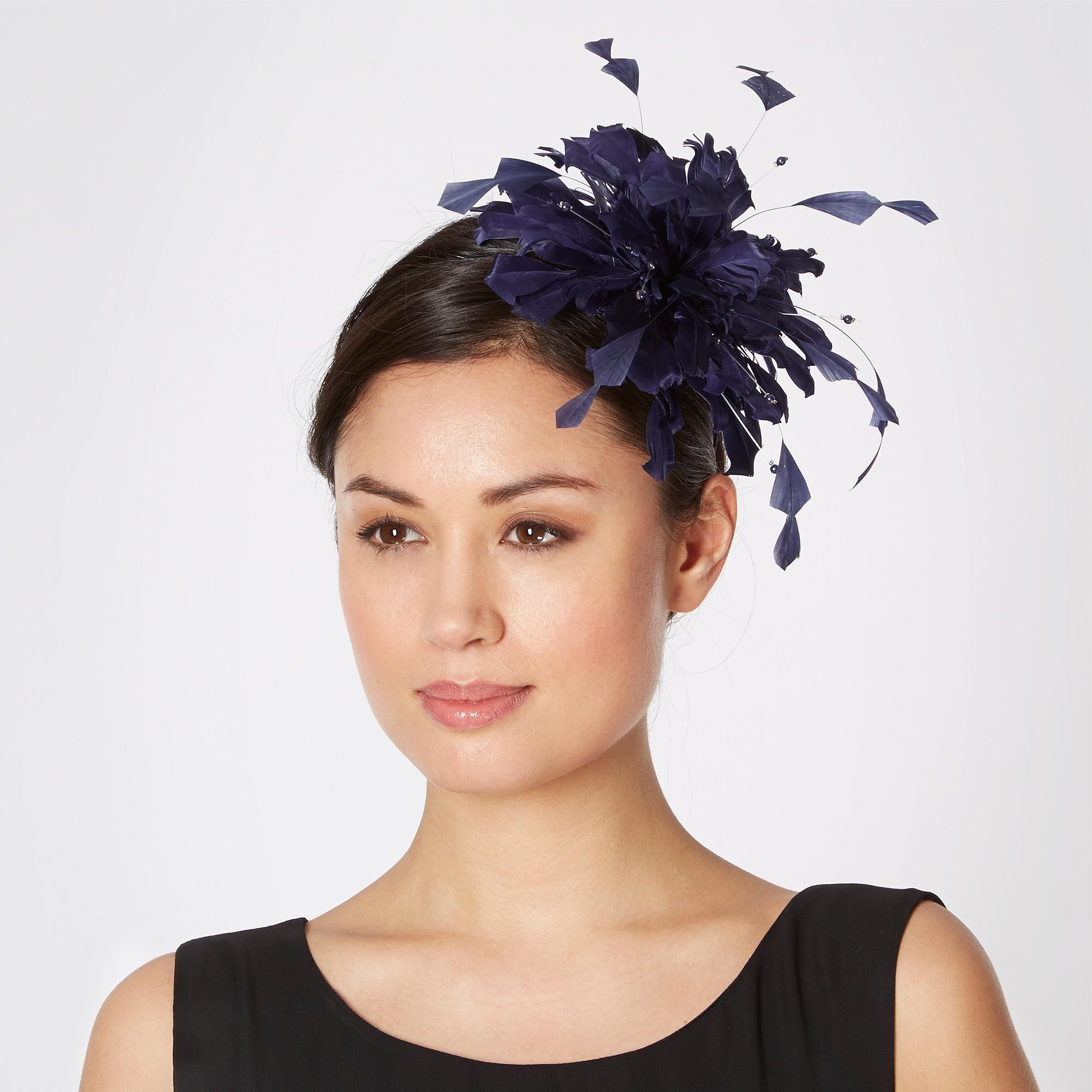 navy feather bead hair band - hats & fascinators - debenhams