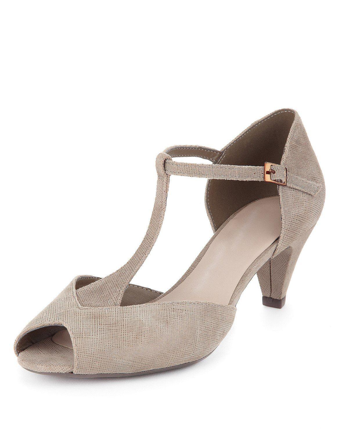 Footglove Suede Mid Heel T-Bar Wide Fit
