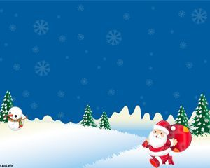 Snowy Christmas Powerpoint Template For Presentations With Santa