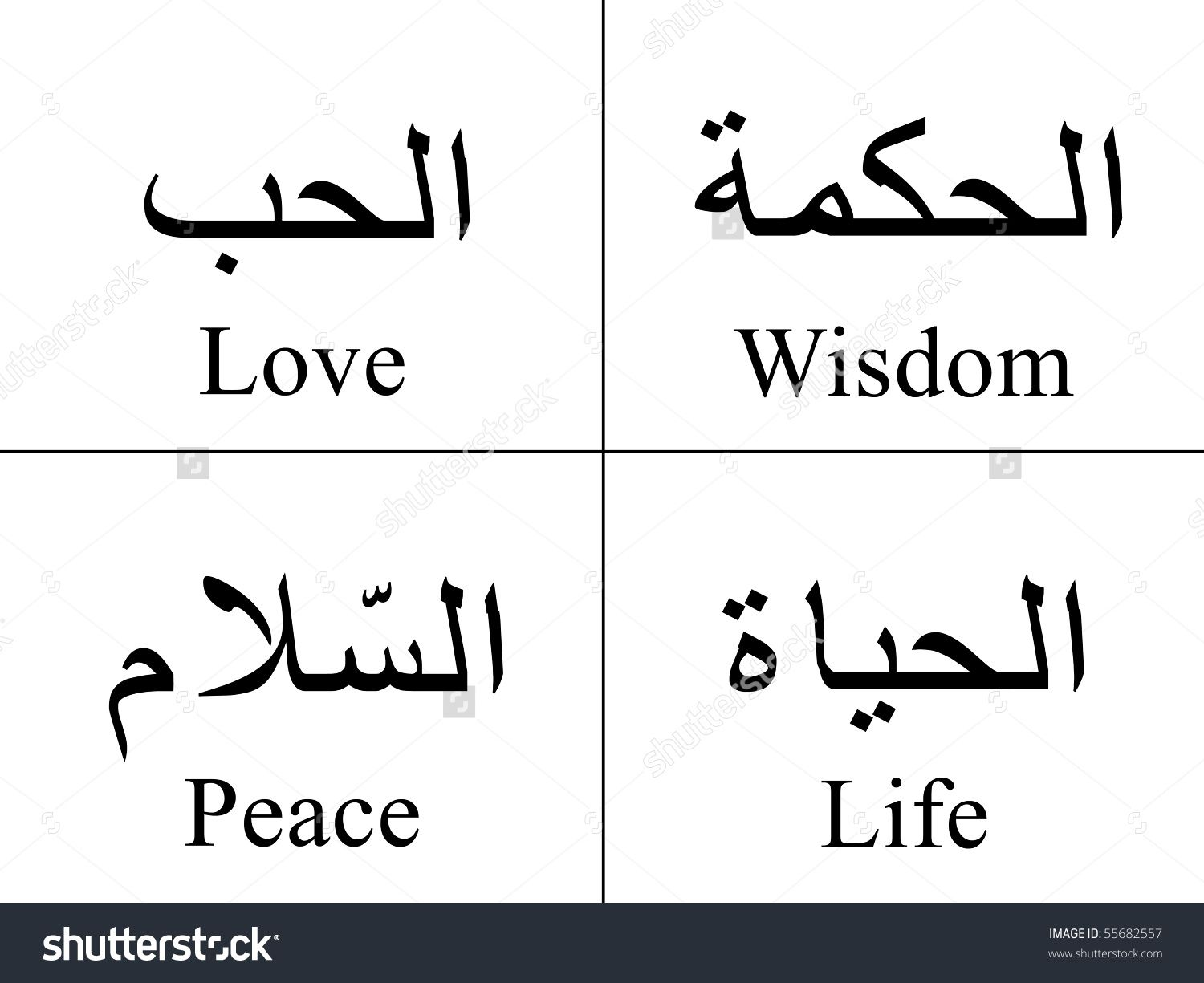 Arabic Words Isolated On White With Their Meaning In English For