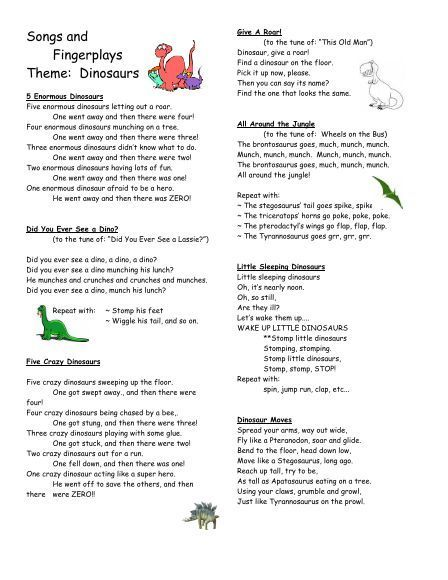 songs fingerplays dinosaurs 13 - Preschool