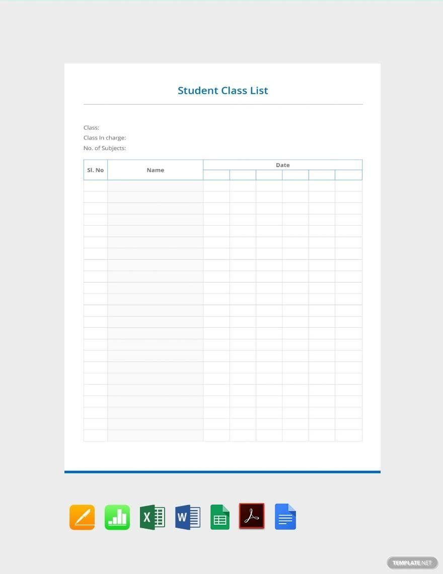 Student Class List Template Free Pdf Google Docs Word Template Net Class List List Template Templates Free printable class roster template