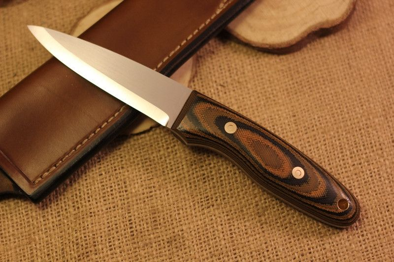 Wayfarer bushcraft knife, polished wetland canvas micarta