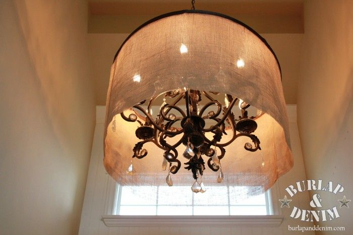 Drum shade diy over an existing large chandelier burlap fishing drum shade diy over an existing large chandelier burlap fishing line ribbon and most important a hula hoop aloadofball Gallery