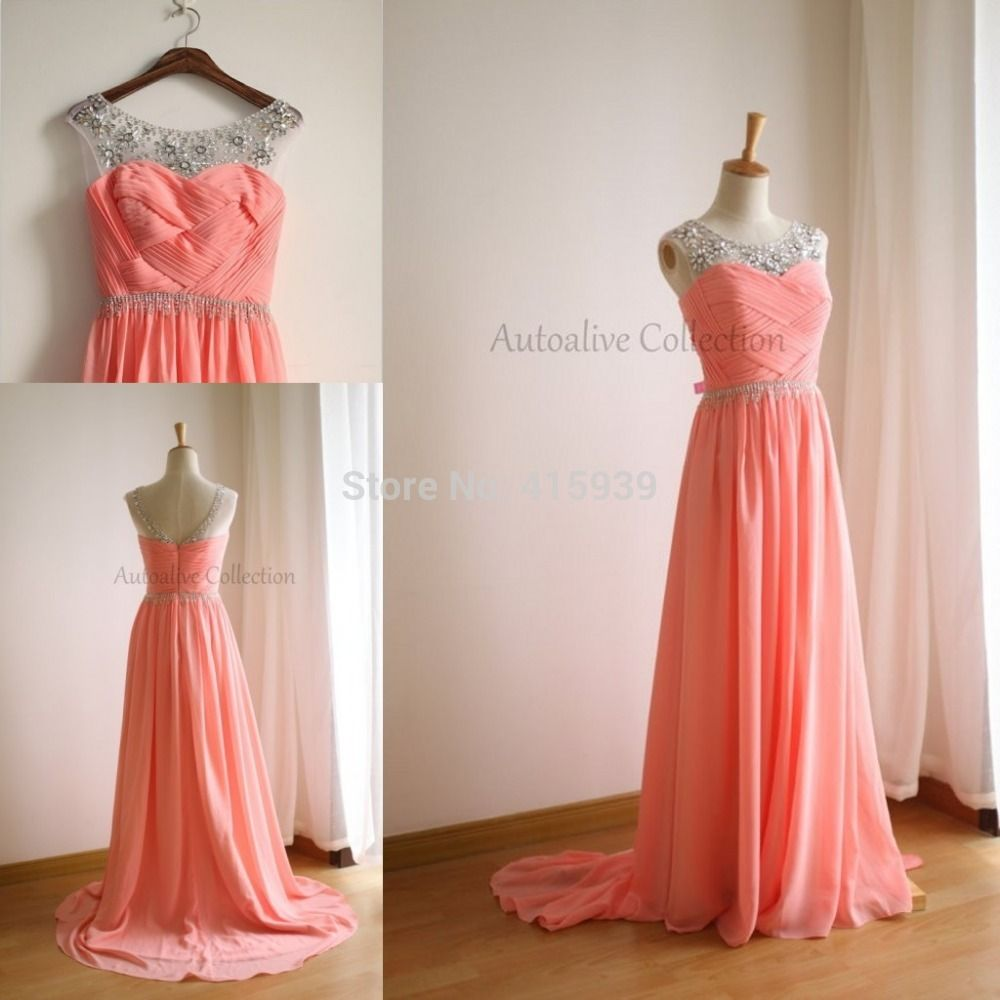 2015 New Arrival Coral Color Bridesmaid Dress Ruched