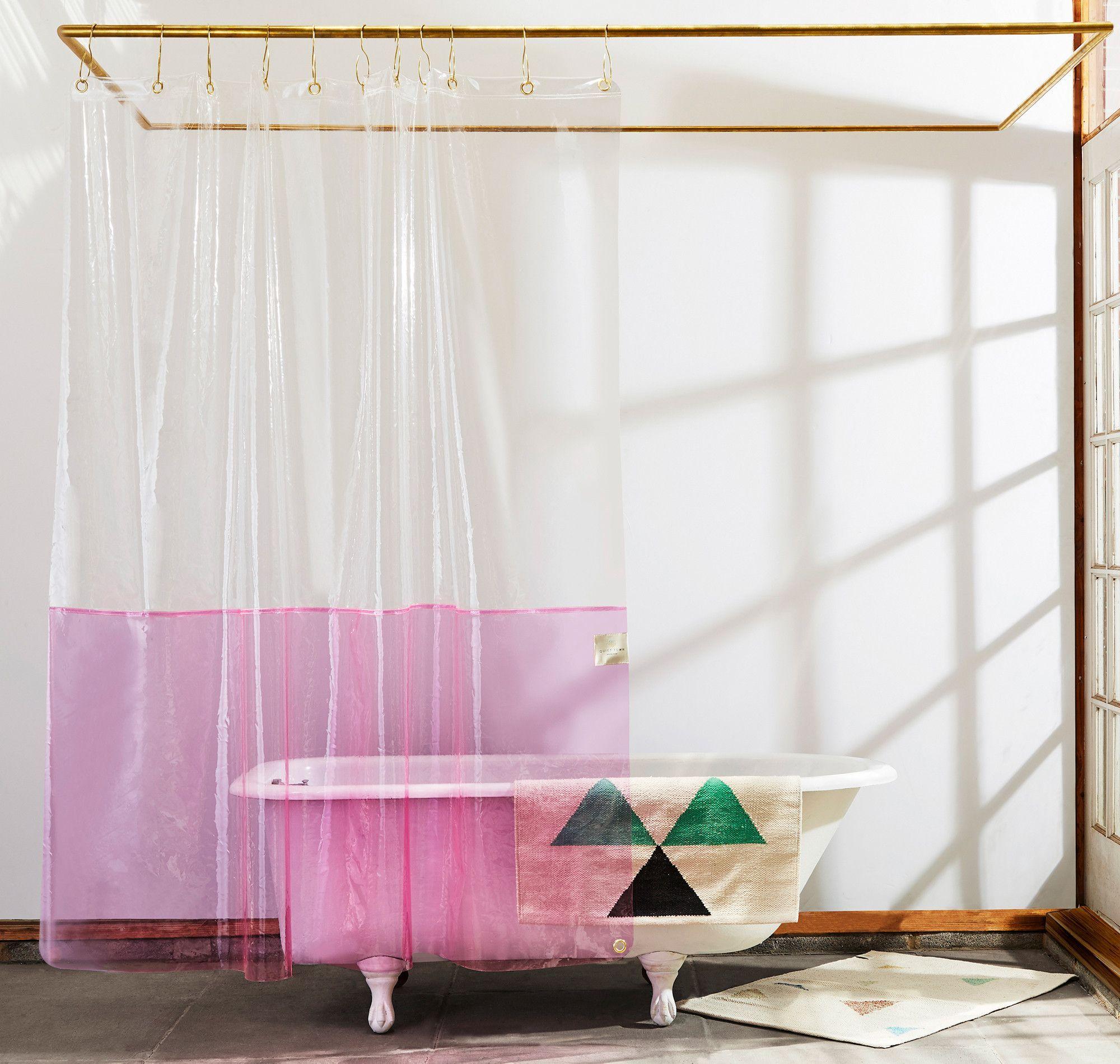 Sun Shower Clear Pink Eva Shower Curtain Quiet Town Pink
