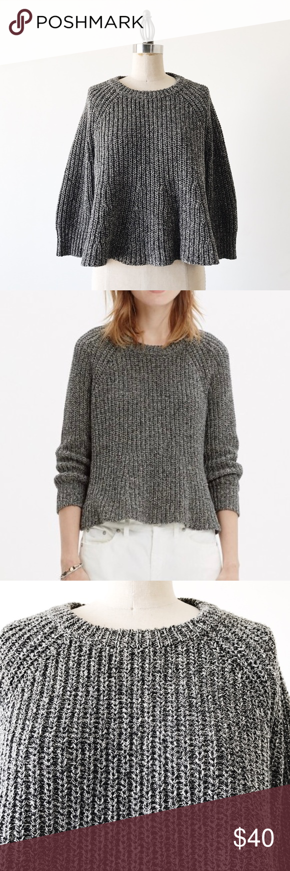 MADEWELL | Gray Ribbed Cropped Swing Sweater | Madewell, Swings ...