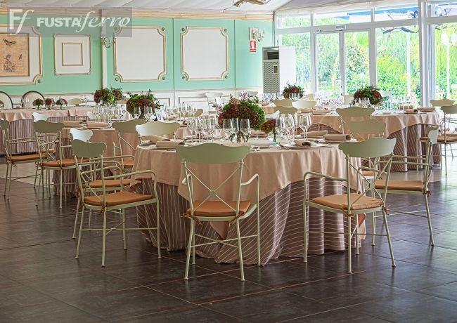 Muebles de forja para interior en Masia de Aguas Vivas. #eventos #catering #instalaciones www.fustaiferro.com