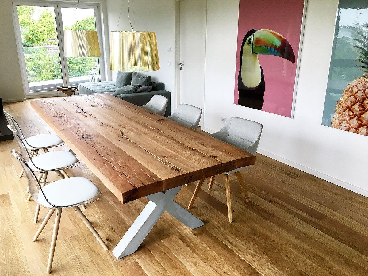Esstisch Massivholztisch Aus Eichenholz Tischgestell In X Form