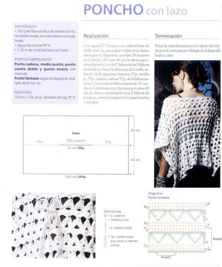 Poncho de verano con cinta fantasia - Patrones Crochet | crochet ...
