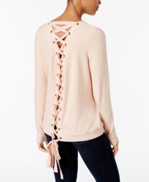 Peace Love World Kristy Lace Up Back Sweatshirt Pink M L